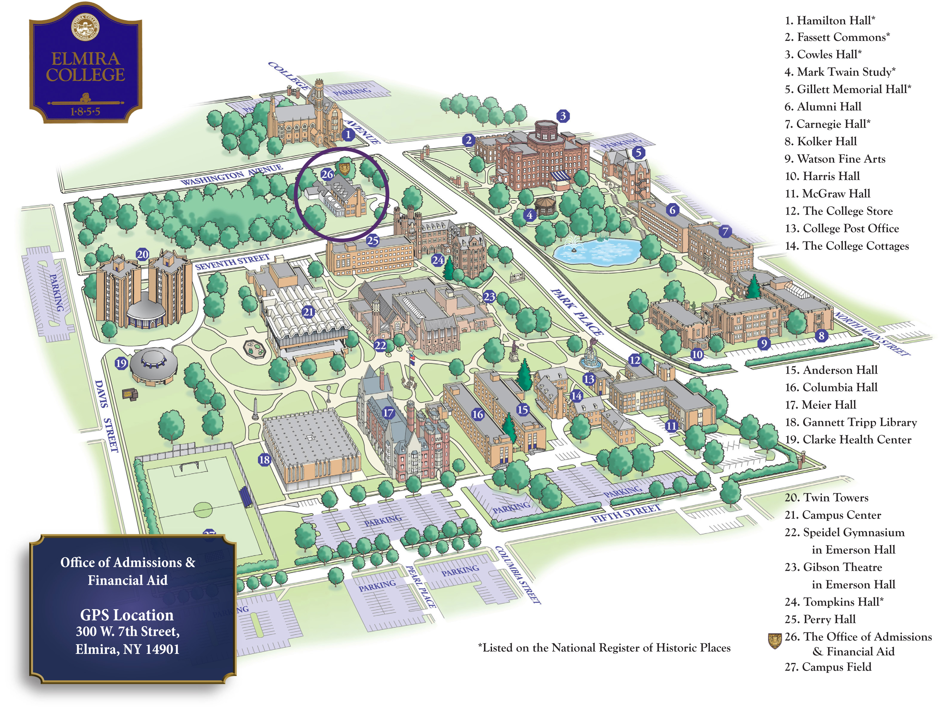 Elmira College Campus Map